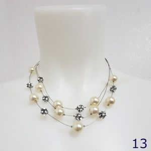 Multi Strand Faux Pearl and Rhinestone Necklace
